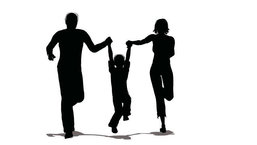 852x480 Running Family With Hanging Child Silhouette Stock Footage Video