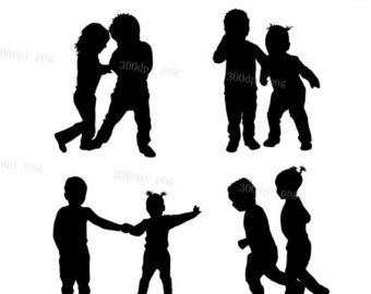 340x270 Children Silhouette Svg Clipart Jumping Children Running Instant