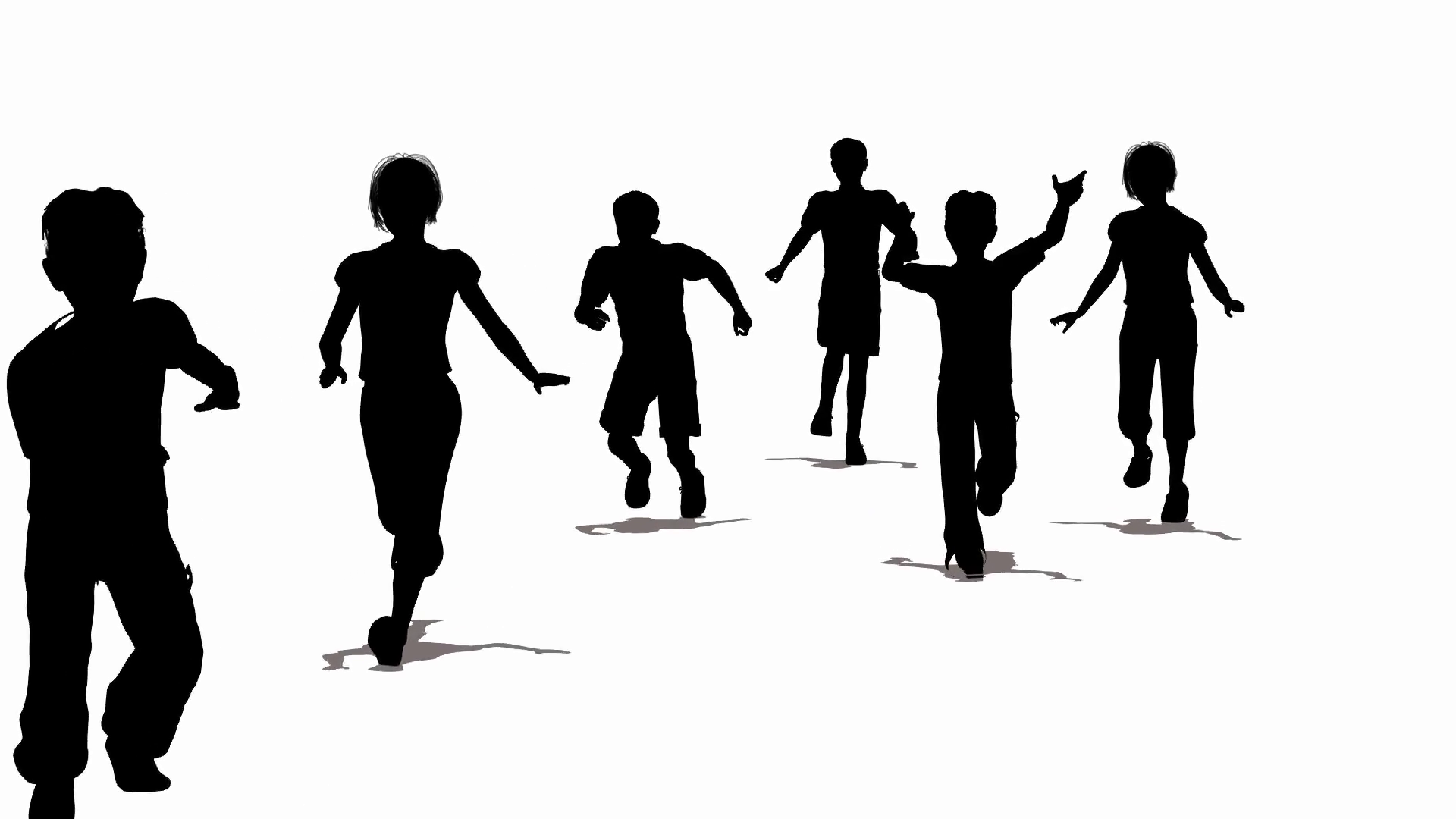 1920x1080 Running Children Silhouette Stock Video Footage