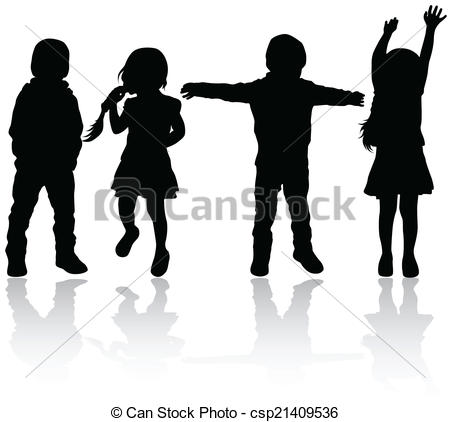 450x422 Happy Children Silhouettes Vectors