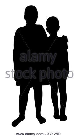 273x470 Two Children Silhouette Vector Stock Photo 168728204