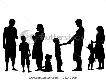 450x338 With Children Silhouette Vectors