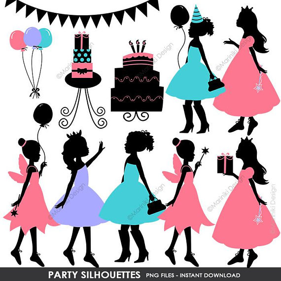 570x570 Children Silhouettes Clip Art, Party Silhouettes, Girls Clipart