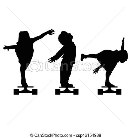 450x470 Children Silhouette On Skate Set In Black Illustration . Vector