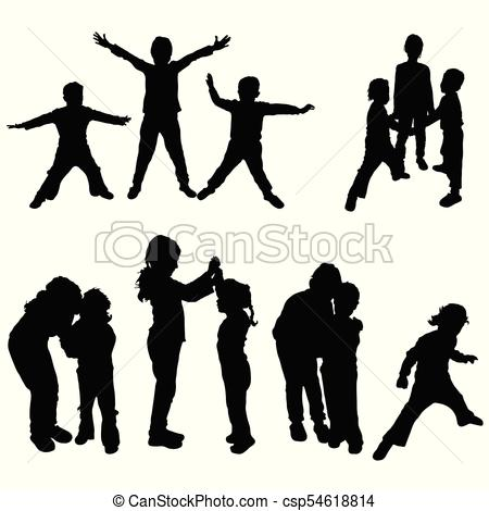 450x470 Children Black Silhouette In Various Poses On White Vector Clip