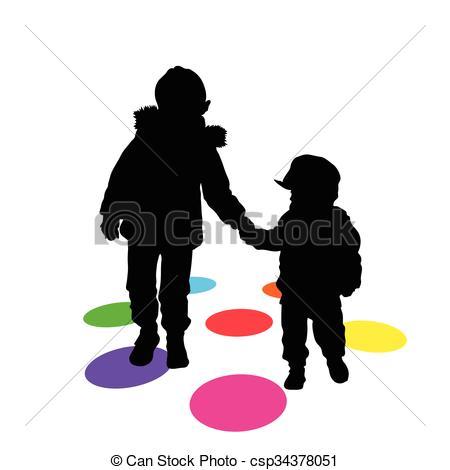 450x470 Children Silhouette Funny Illustration On White Clipart Vector