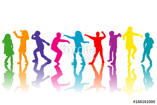 500x334 Colorful Group Of Children Silhouettes Dancing Stock Image