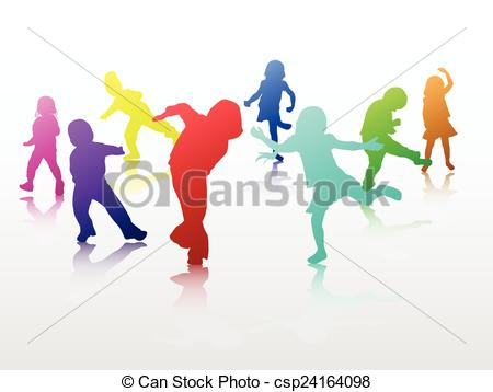 450x358 Dancing Children Silhouettes Eps Vectors