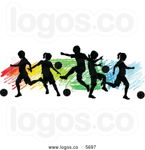 600x620 Royalty Free Vector Of A Logo Of Silhouetted Children Playing