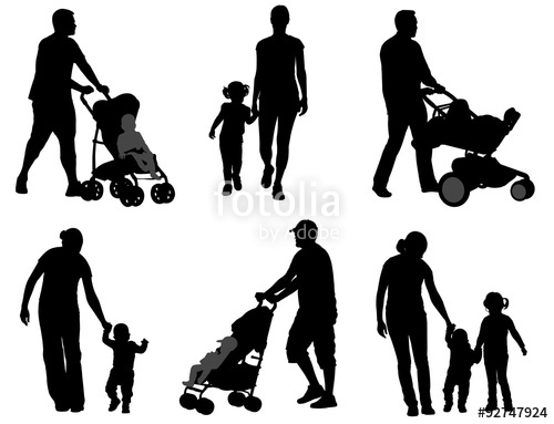 500x383 Parents Walking With Their Children Silhouettes