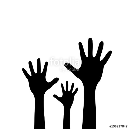 500x500 Raised Up Children's Hands. Black Silhouette. Isolated On A White