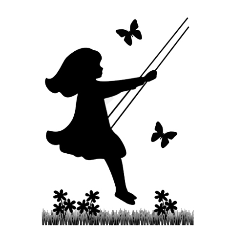 514x500 Silhouette Vintage Child Mural Wall Art Decal Girl Swinging [832