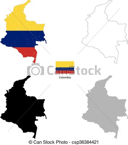 414x470 Colombia Country Black Silhouette And With Flag On Vector