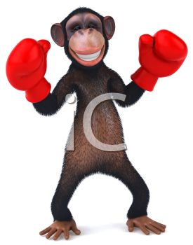 275x350 Picture Of A Chimpanzee Wearing Red Boxing Gloves In A Vector Clip