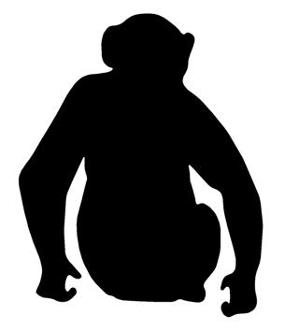 299x330 Chimpanzee Silhouette Decal Sticker