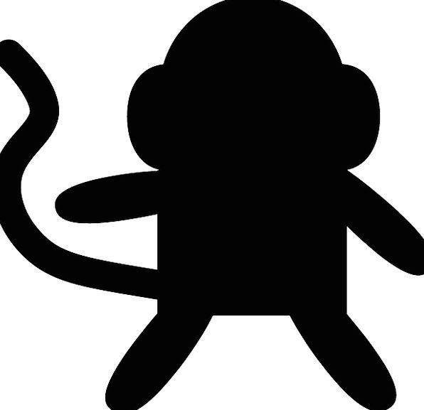 596x577 Monkey, Chimpanzee, Black, Dark, Ape, Silhouette, Outline, Animal