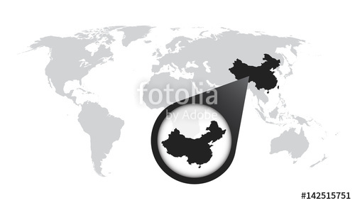 500x286 World Map With Zoom On China. Map Loupe. Vector Illustration