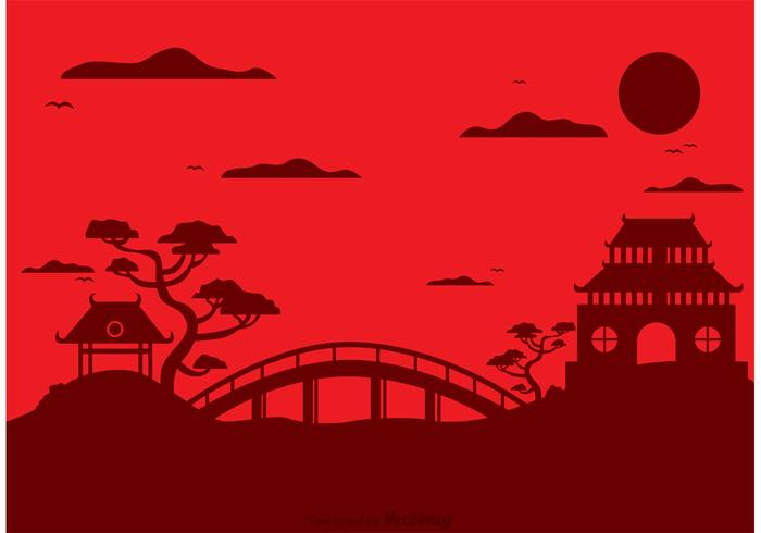 700x490 Chinese Temple Landscape Vector Background