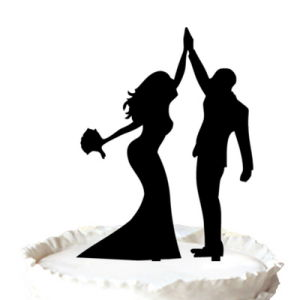 300x300 China Bride And Groom High Five Silhouette Wedding Cake Toppers