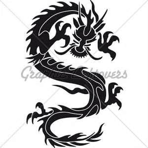 300x300 Chinese Dragon Silhouette Tattoo Tribal Dragon