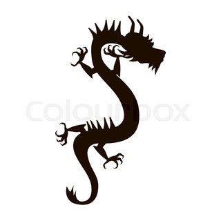 320x320 Symbol Of Holiday East New Years Dragon, Black Silhouette