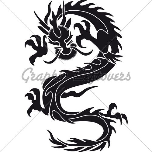 500x500 Dragon Silhouette Chinese Dragon Silhouette Tattoo Tribal Tattoo