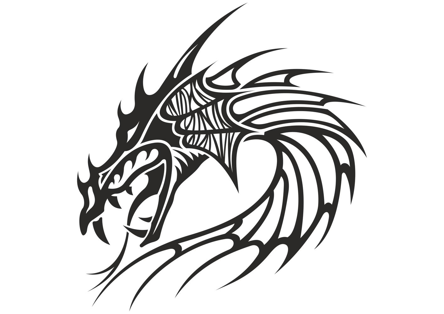 1414x1000 Chinese Dragon Head Tattoo Vector Coreldraw Vector (.cdr) File