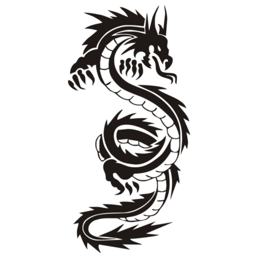 1000x1000 Vintage Chinese Dragon Silhouette Wall Stickers Hot Selling