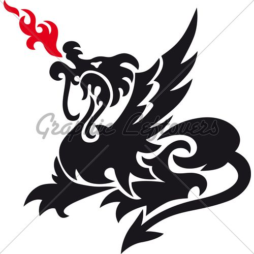 500x500 Dragon Silhouette