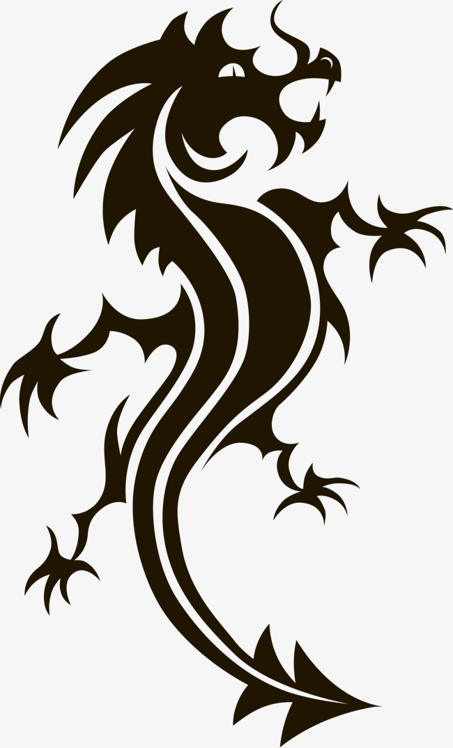 650x1074 Chinese Dragon Silhouette Vector, Sketch, China, Vector