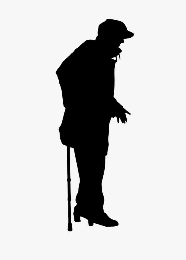 650x911 Silhouette Man On Crutches, Sketch, Old People, Silhouette Png