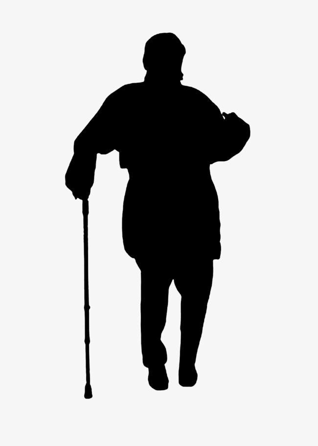 650x911 Silhouette Of Man On Crutches, Old People, Sketch, Silhouette Png