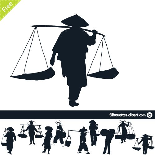500x500 Chinese Peasants Silhouette Silhouettes