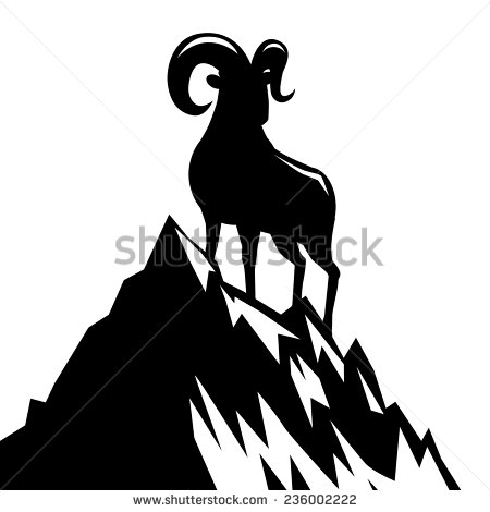 450x470 Goat Standing On Mountain Silhouette 2015 Chinese New Year Eps 10