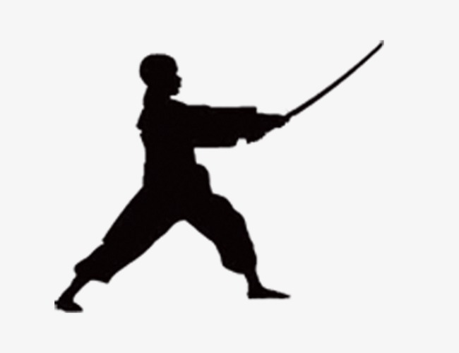 650x500 Chinese Style Martial Arts Silhouette, Black Silhouette