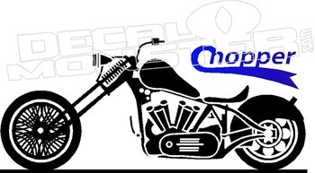 350x193 Chopper Motorcycle Silhouette Wall Decal Dm