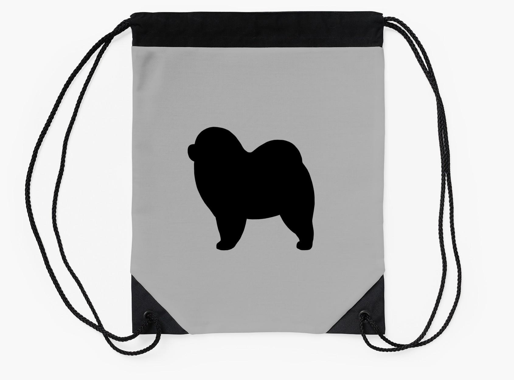 1690x1250 Rough Chow Chow Silhouette(S) Drawstring Bags By Jenn Inashvili