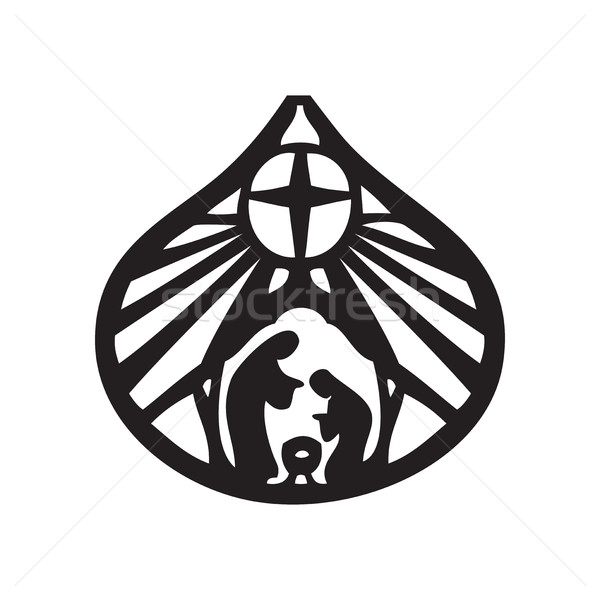 600x600 Holy Family Christian Silhouette Icon Vector Illustration On Whi