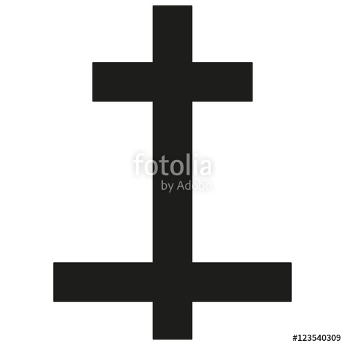 500x500 Lorransky Cross Icon Black Silhouette. Ancient Christian Sign