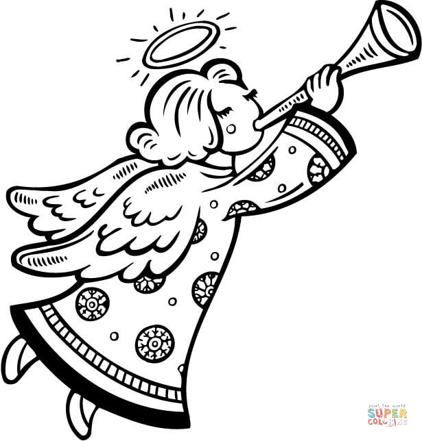 615x644 Christmas Angel Blows A Horn Coloring Page Free Printable