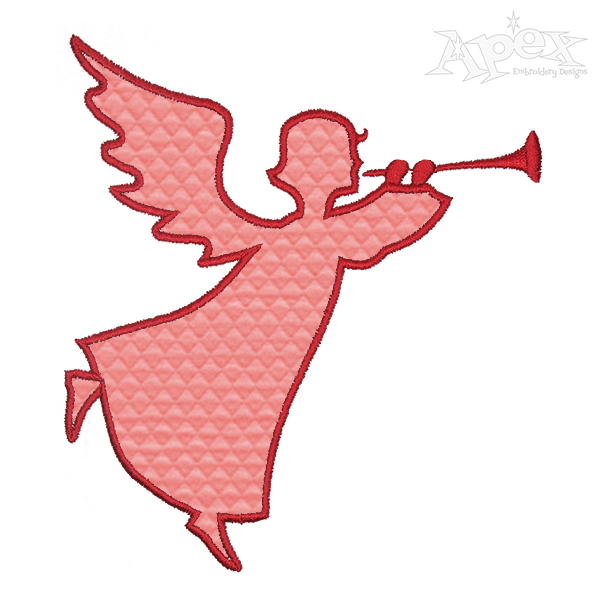 600x600 Christmas Angel Silhouette Applique Embroidery Design