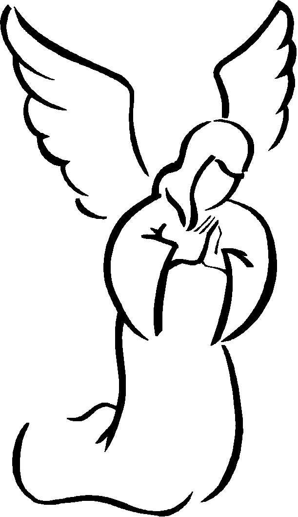 611x1058 Simple Angel Clipart Black And White