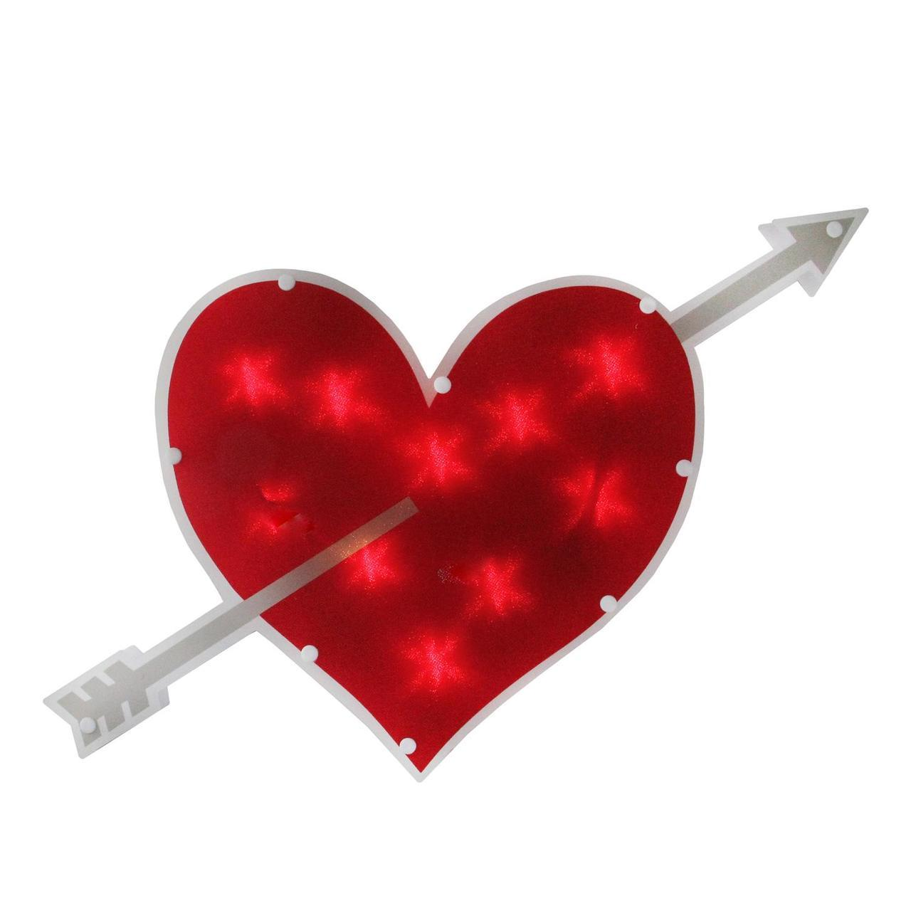 1280x1280 18 Lighted Red Heart With Arrow Valentine's Day Window Silhouette