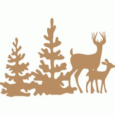 236x236 Stags Christmas Card Middle, Silhouettes And Cards