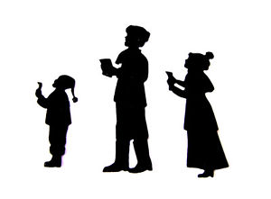 300x221 8 Sets Of 3 Carol Singers Christmas Die Cuts, Imo. Silhouettes