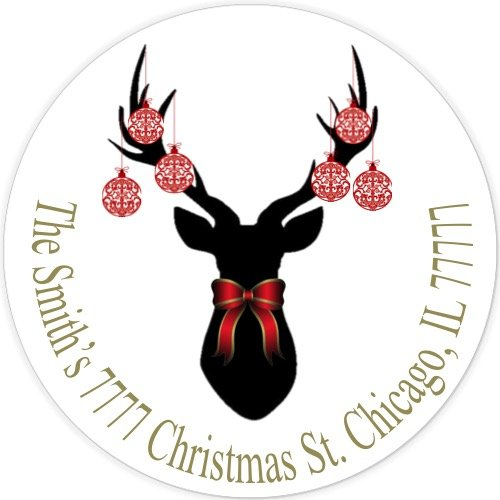 500x500 40 Personalized 2 Circle Christmas Deer Silhouette