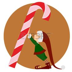 236x236 Silhouette Christmas Elf And A Big Candy On White Clip Art