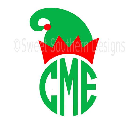 570x570 Elf Hat Christmas Monogram Svg Instant Download Design