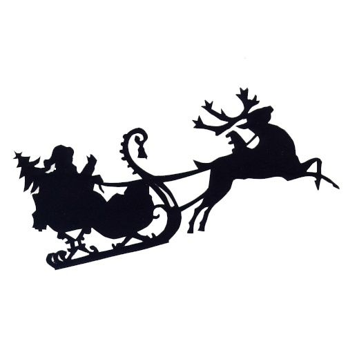 504x504 Santa In Sled Silhouettes Free Santa Sleigh Christmas