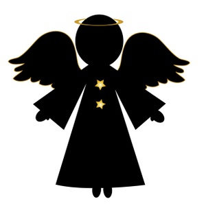 300x300 Christmas Angel Silhouette Clipart